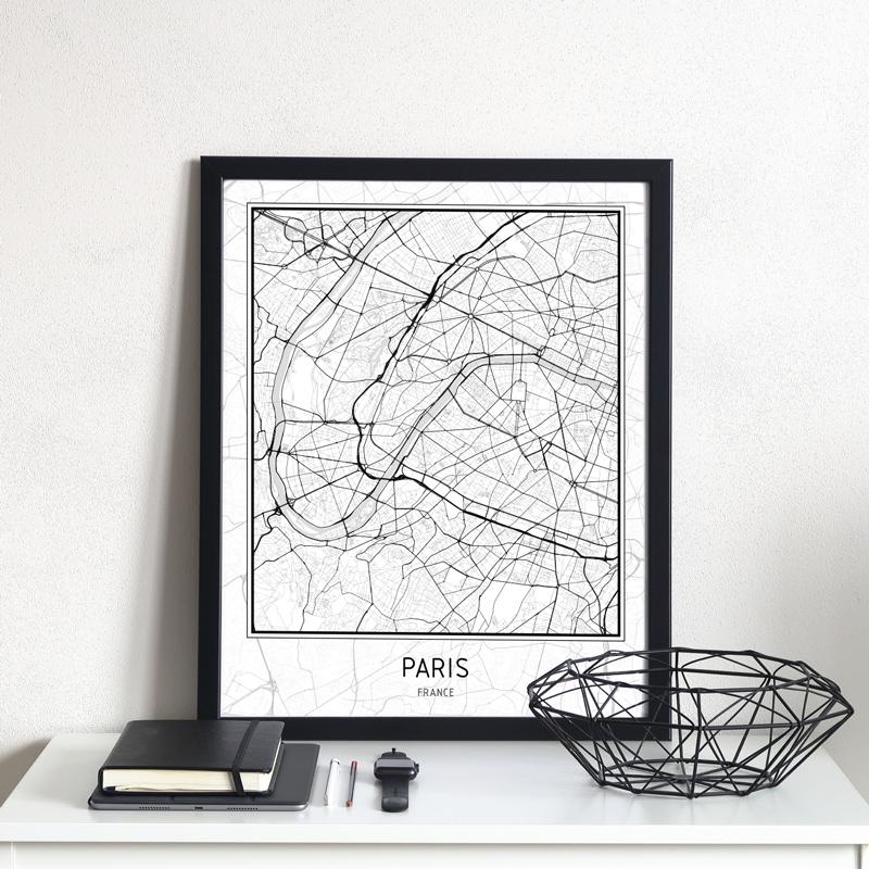 Plakát – mapa města – PAŘÍŽ