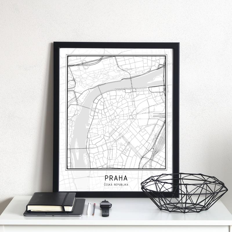 Plakát – mapa města – PRAHA