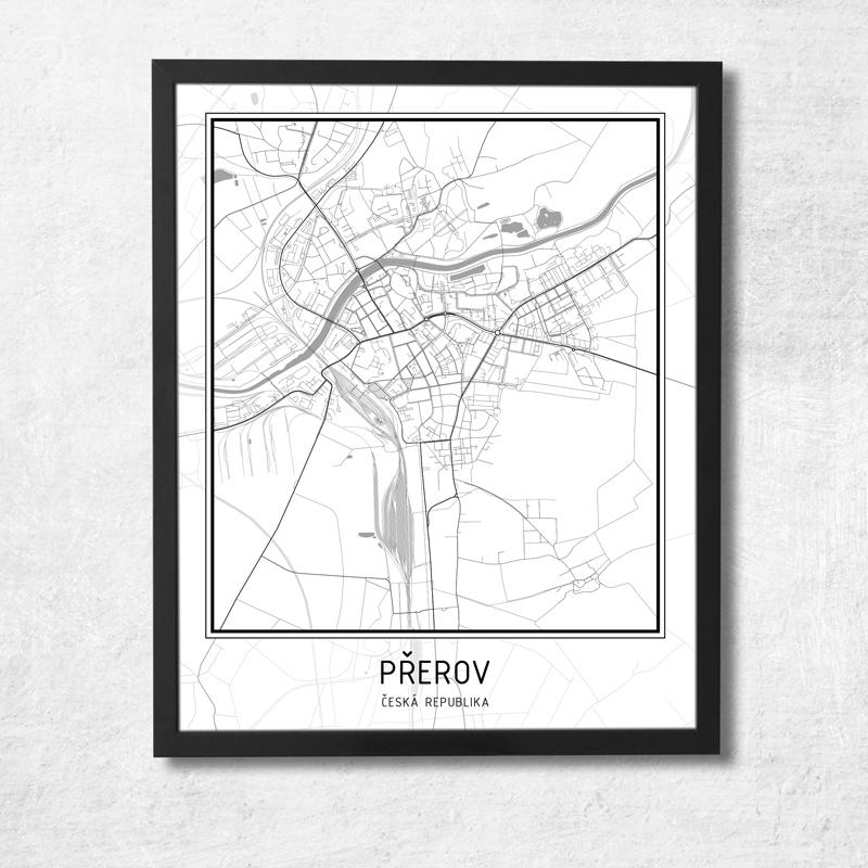 Plakat Mapa Mesta Prerov Jsps Design